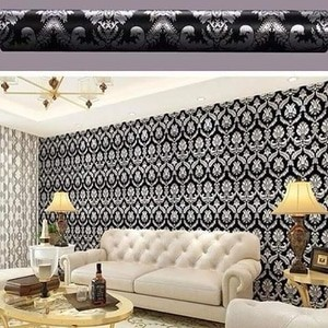 V002ls Wallpaper Sticker Ku Vintage Hitam Silver Wallpaper