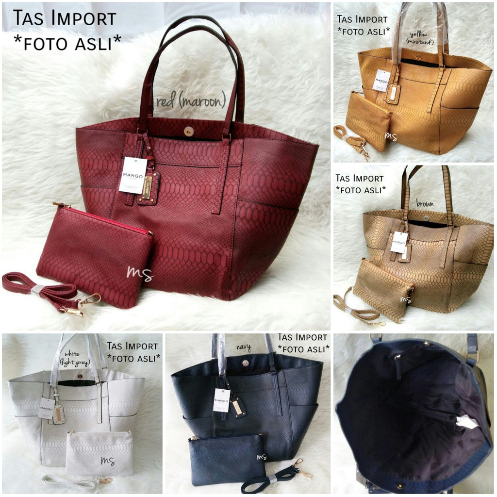 GOSEND  RESTOCK Tas Mango Croco 2in1 Tote Bag Import MS673 Best Seller  4e07aafd2a