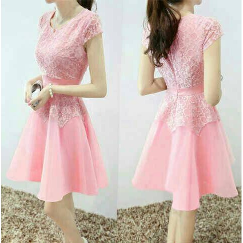 96 Model Baju Dress Warna Pink Kekinian