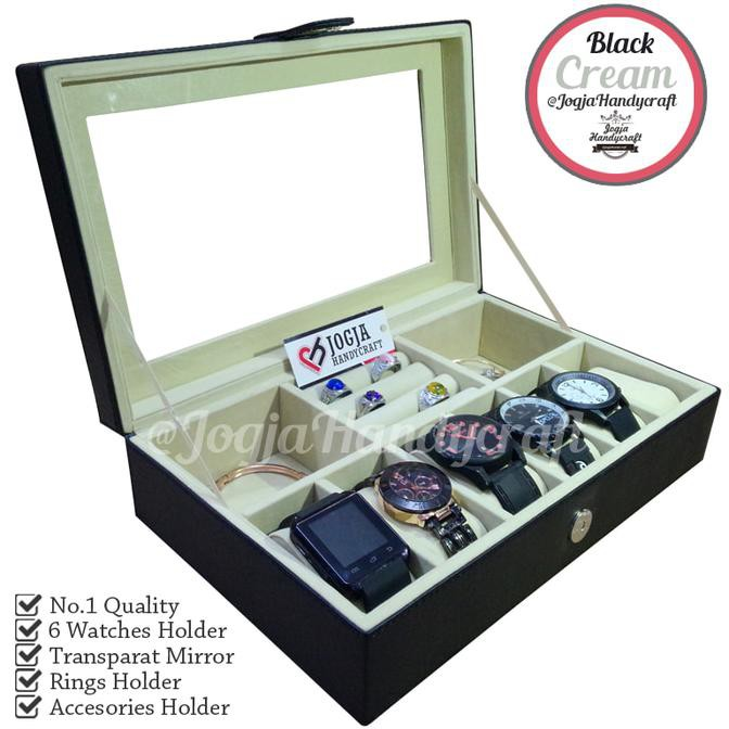 Tempat Aksesoris Box Penyimpanan Kotak Ekslusif Tingkat ISI 12 Jam Tangan  Display Cincin Aksesoris  a630e080b5