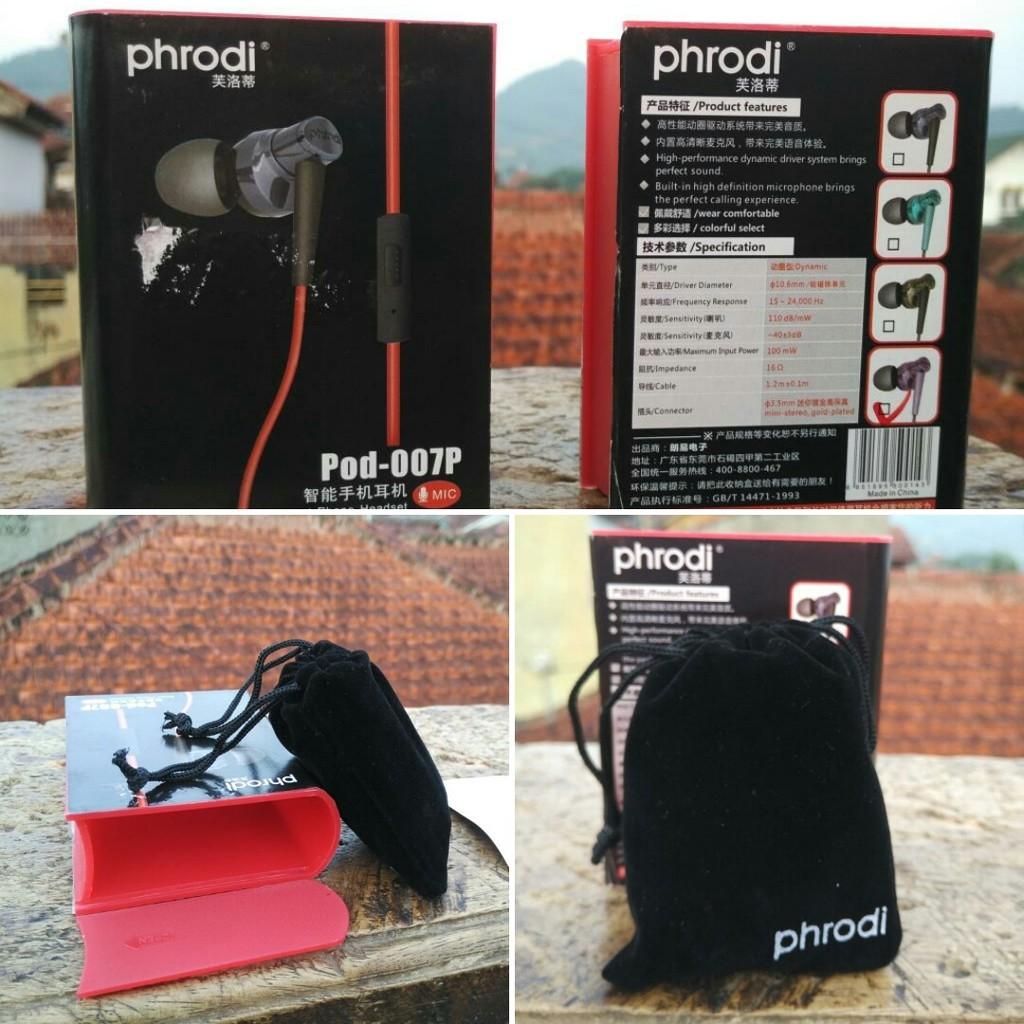 Phrodi 008 Deep Bass Earphone Iem With Mic Shopee Indonesia M201 Microphone Pod Merah