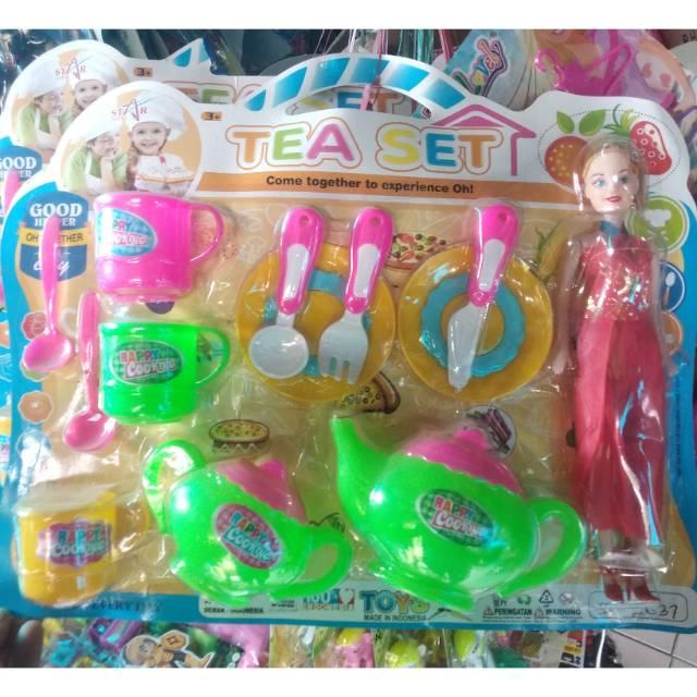Mainan Masak Masakan Set Barbie Tea Set Mainan Cewek Shopee Indonesia