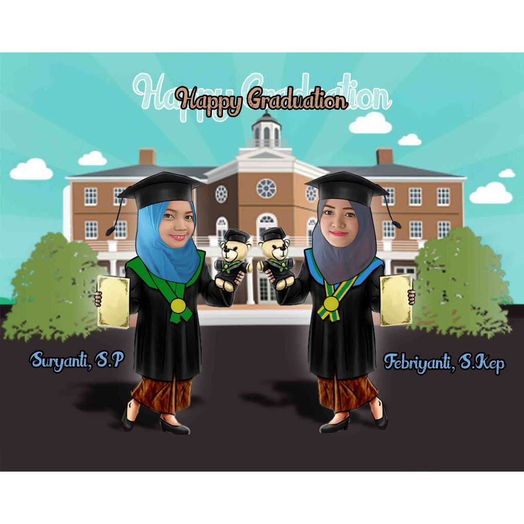 Karikatur Wisuda Couple Karikatur Wisuda Polmed Shopee Indonesia