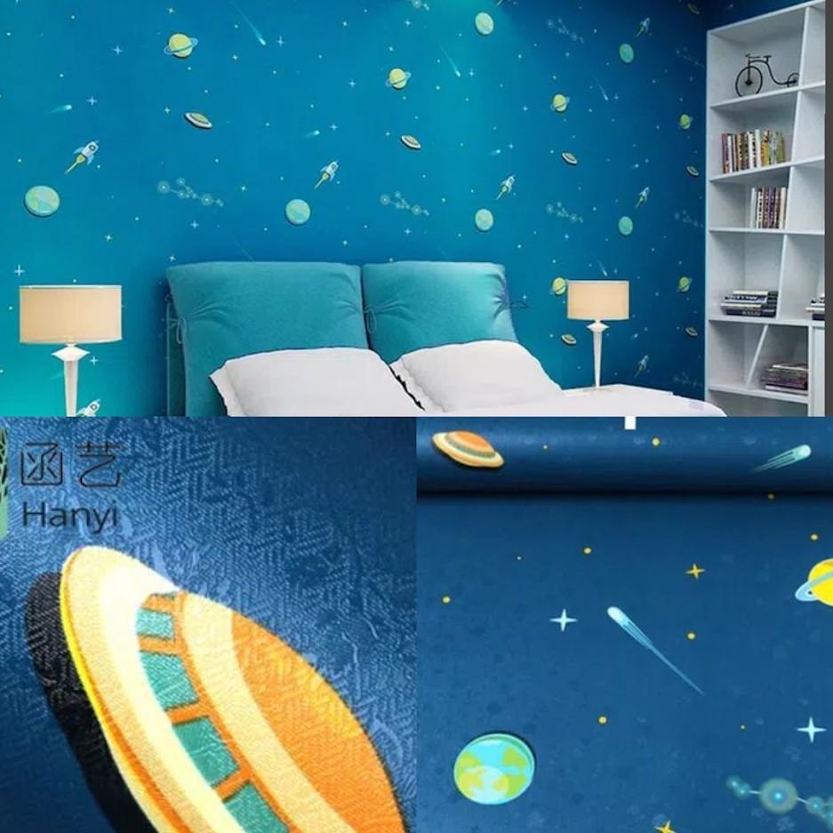 Baru Murah Wallpaper Sticker Dinding Biru Dongker Angkasa Planet Pemandangan Lucu Bagus 10 Meter