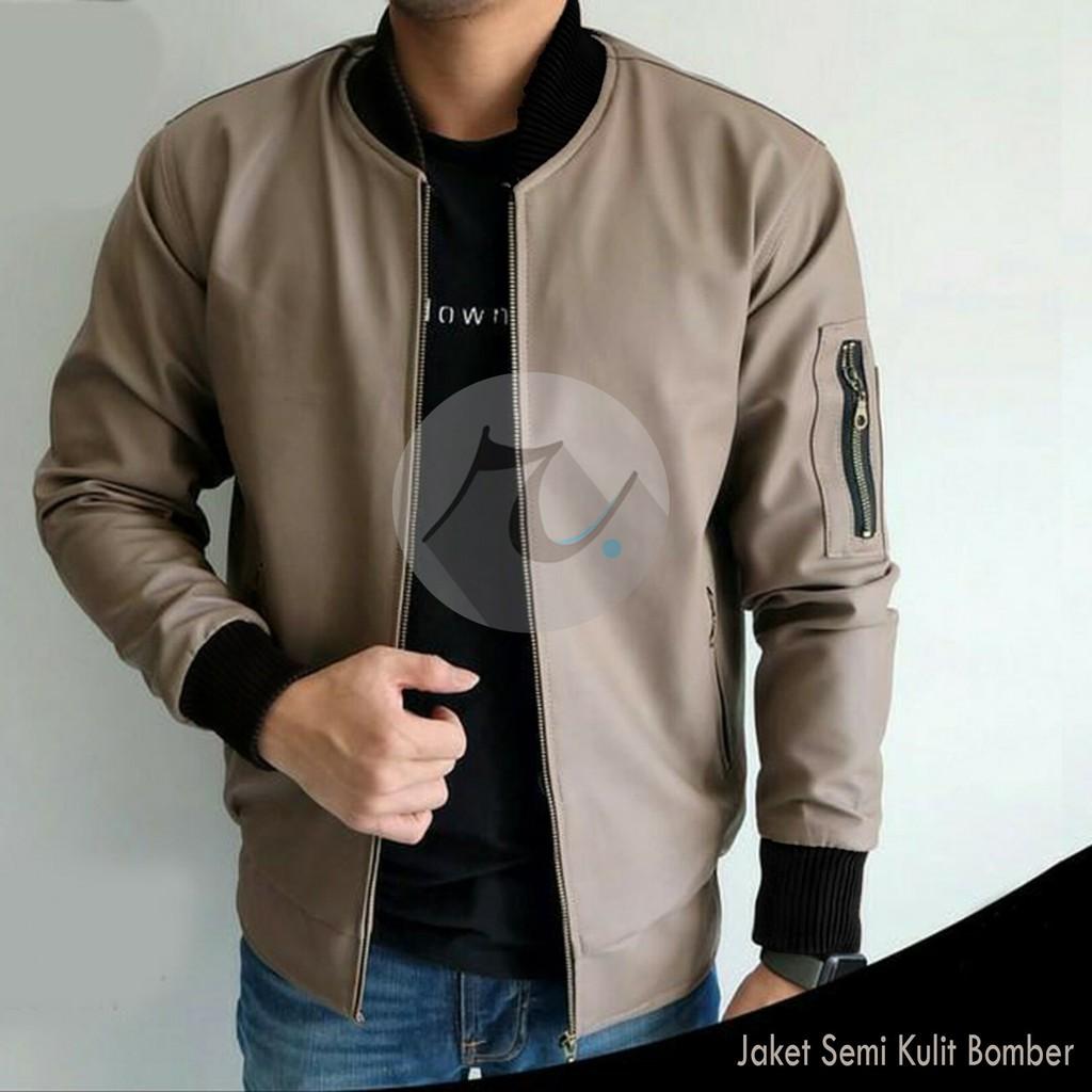 Jaket Semi Kulit Ariel Noah Bomber Sporty Style Hitam  c6ef7a2aee