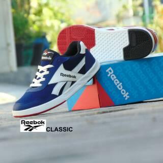 Sepatu Kets Casual Reebok Classic - Biru Navy Putih - Santai Kuliah ... 7be5d25f0c