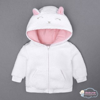 Jaket Hoodie Hangat Bayi / Anak Perempuan Aksen Telinga Kelinci untuk Musim Dingin