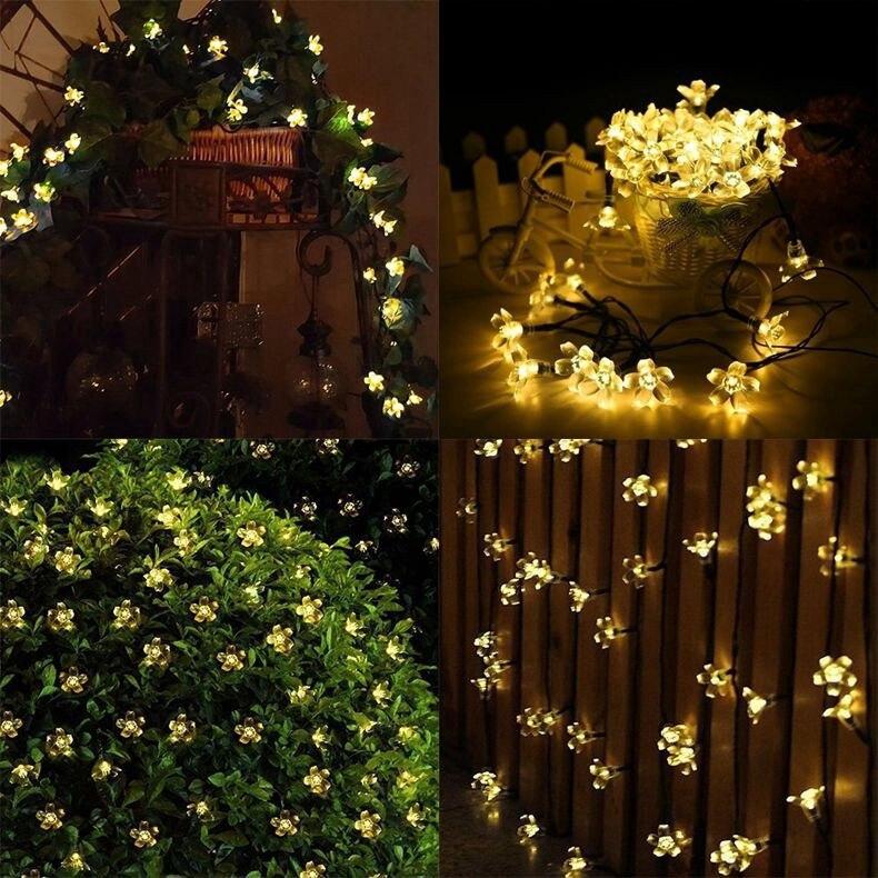 Lampu Taman Tenaga Surya Lampu Outdoor 7m 50led 22m 12m Lampu Led Pohon Tenaga Matahari Led Strip Rgb Bintang Gift 5pcs Retainer Shopee Indonesia