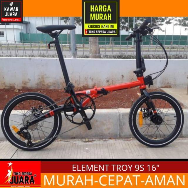 Sepeda Lipat Element Troy 9 Speed Folding 16 Inch Shopee Indonesia