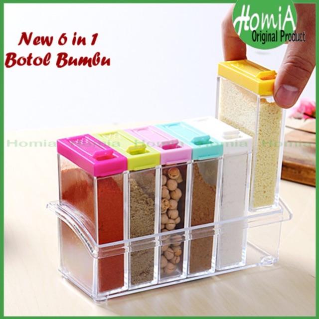 StarHome Rak Tempat Bumbu 6 in 1 Seasoning Box Serbaguna - Kristal Unik | Shopee Indonesia
