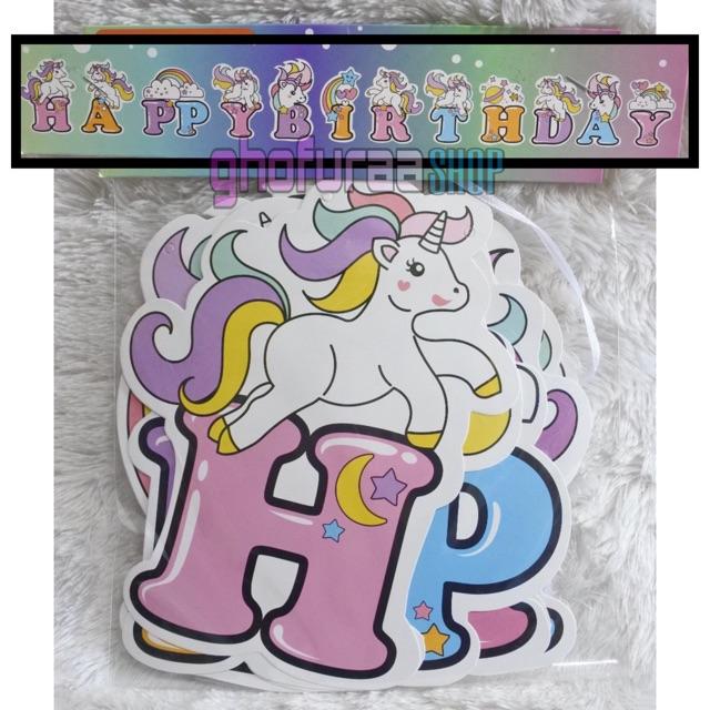Banner Unicorn Bunting Flag Happy Birthday Kuda Poni Shopee Indonesia