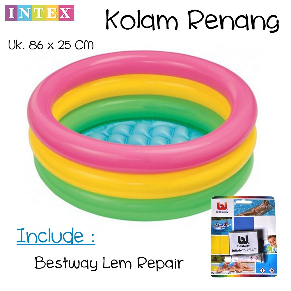 INTEX Kolam Renang #56441 Pompa Anak Besar | Sunset Glow 4 Ring Rainbow Pool | 56441NP | Shopee Indonesia