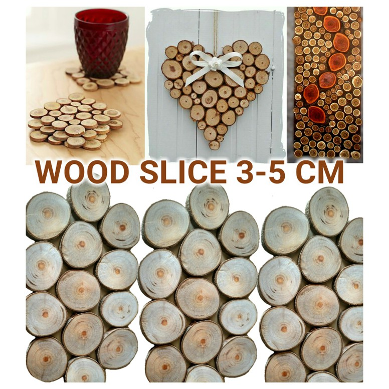 Wood Slice 3 5 Cm Slices Chips Potongan Kayu Log Wooden Craft Dekorasi Shopee Indonesia
