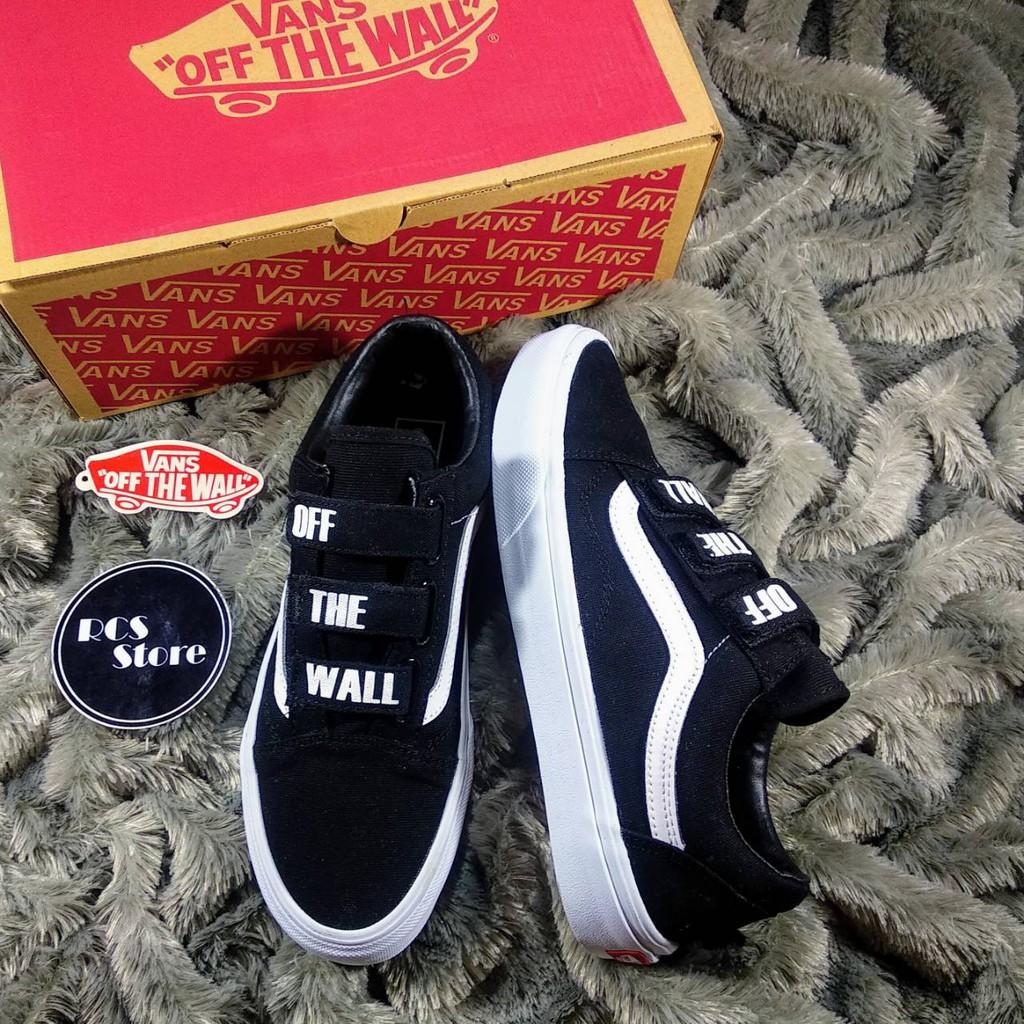 Jual Sepatu Vans Oldskool Velcro Black White PK Quality