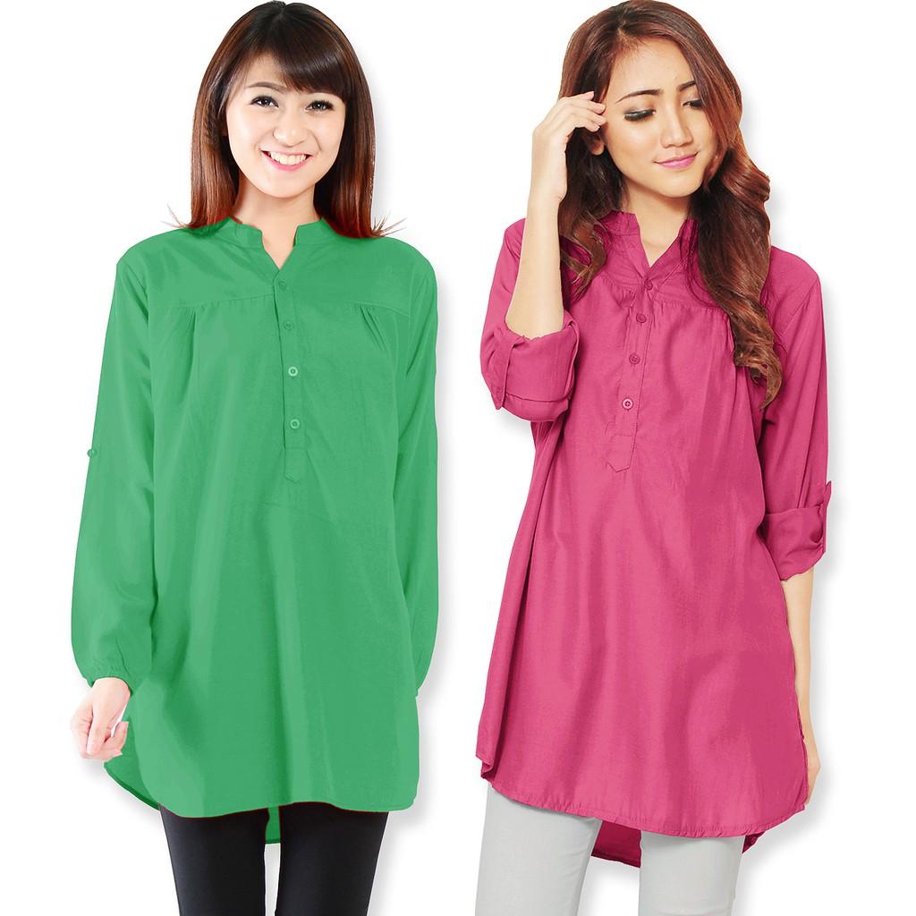 Kemeja Batik Wanita Jumbo: Kemeja Wanita Lengan Panjang Size M/L/XL 6 Warna