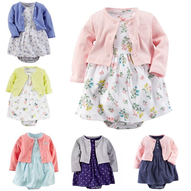 Baru lahir 7462 Katun Baju Rompers Putri Renda Bayi Pakaian Set Roupas De Bebe Romper +