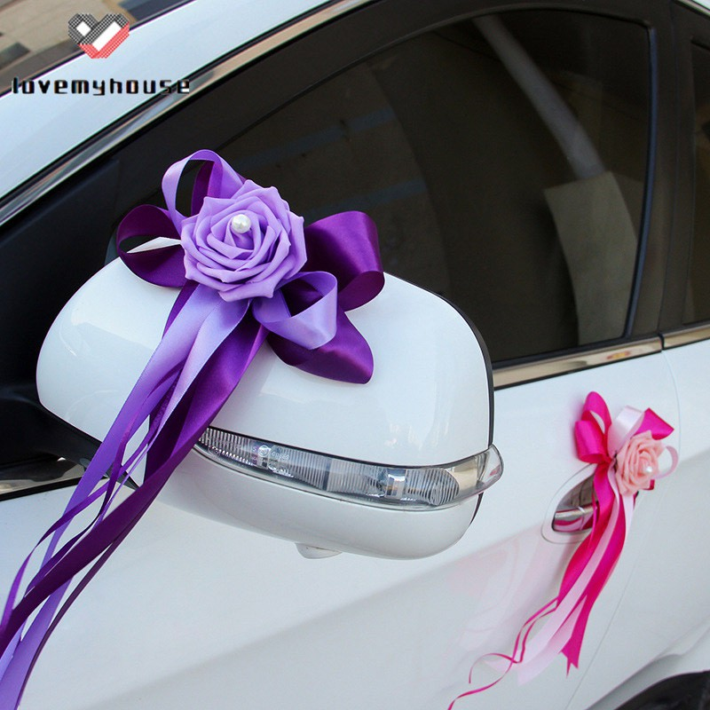 Hiasan Mobil Pengantin Pita Bunga 3d Warna Polos Shopee Indonesia