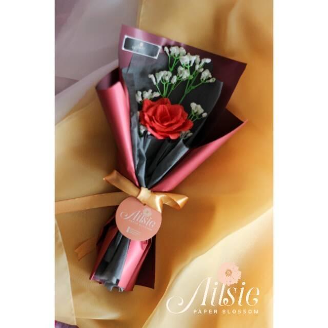 Buket Bunga Mawar Rose Bouquet Single Stalk Hadiah Kado Ulang Tahun Pacar Bunga Kertas Shopee Indonesia