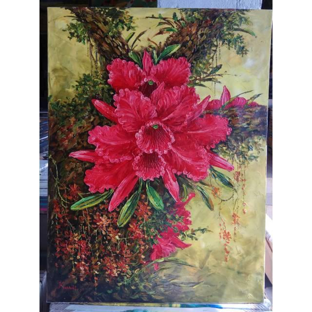 Lukisan Palet Bunga Anggrek Merah Shopee Indonesia