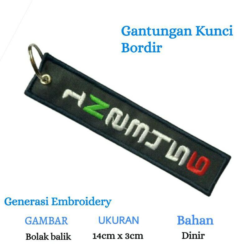Generasi Embroidery / Gantungan kunci / Gantungan kunci bordir / Keychain / Keytags / Patch /1N23456