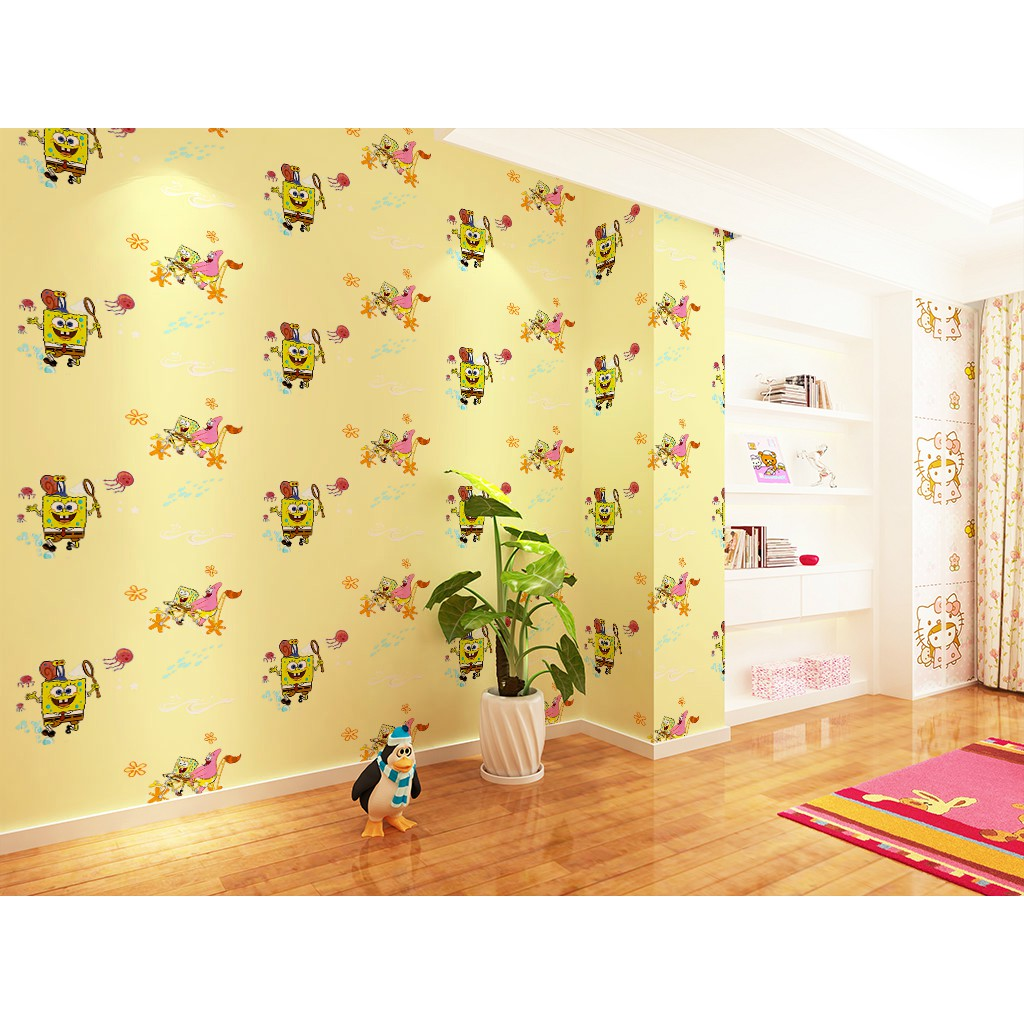 BDRD 155 10M X 45CM Wallpaper Sticker Wallpaper Dinding Kartun Spongebob Dasar Kuning Lucu