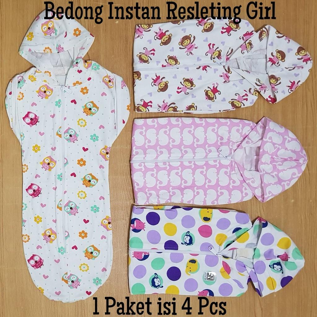 Bedong bayi instan resleting bedongan baby baru lahir simple polos praktis kepompong murah SNI pink | Shopee Indonesia
