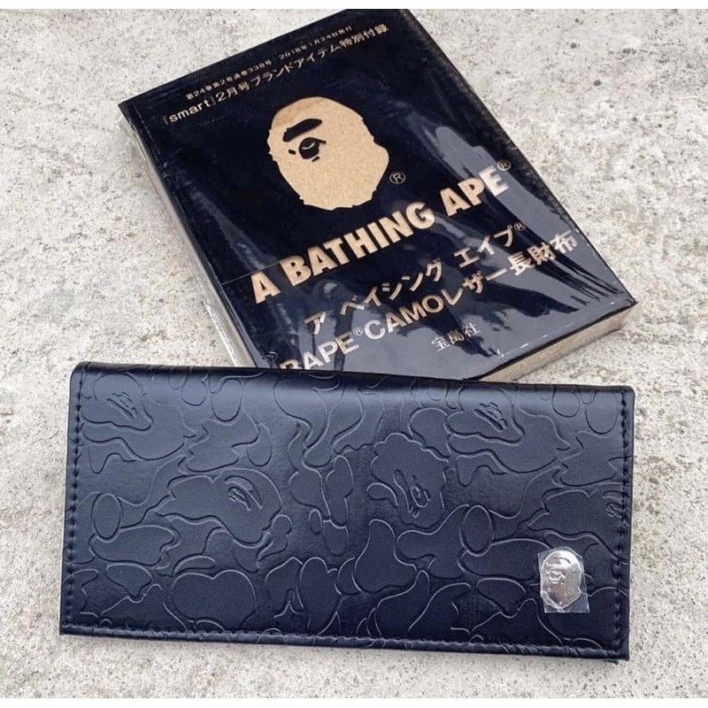 A Bathing Ape BAPE Black New Original Long Wallet