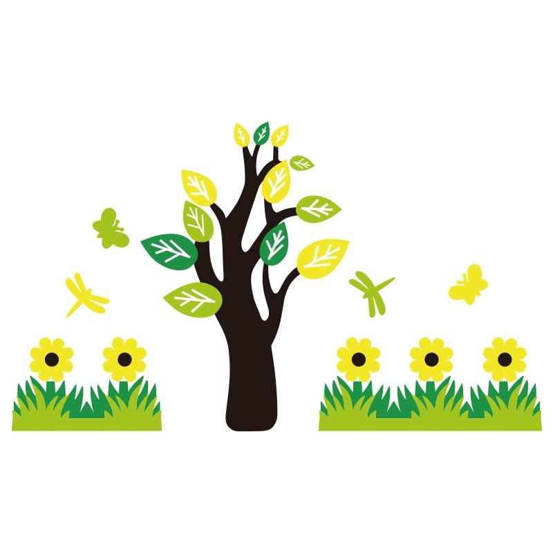 M Kartun Pohon Hijau Rumput 3d Stiker Dinding Padat Lukisan Kelas Tk Alas Tian Shopee Indonesia