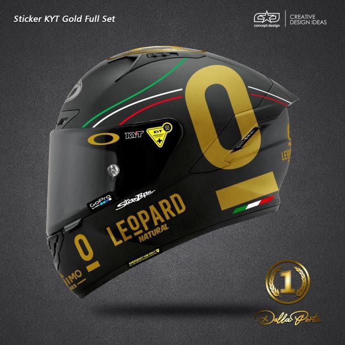 Sticker Helm Kyt Full Set Gold Leopard Ready Stok