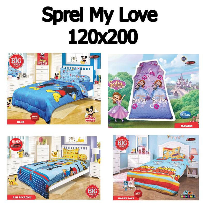 Sprei MY LOVE 120x200 Motif Anak   Single 120   Ash Pikachu FLower Sofia  Princess Pokemon