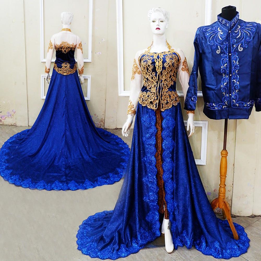Couple Kebaya Pengantin Bludru Halus Lamaran Wedding Cp463 Solo My Dress Prada Biru Shopee Indonesia