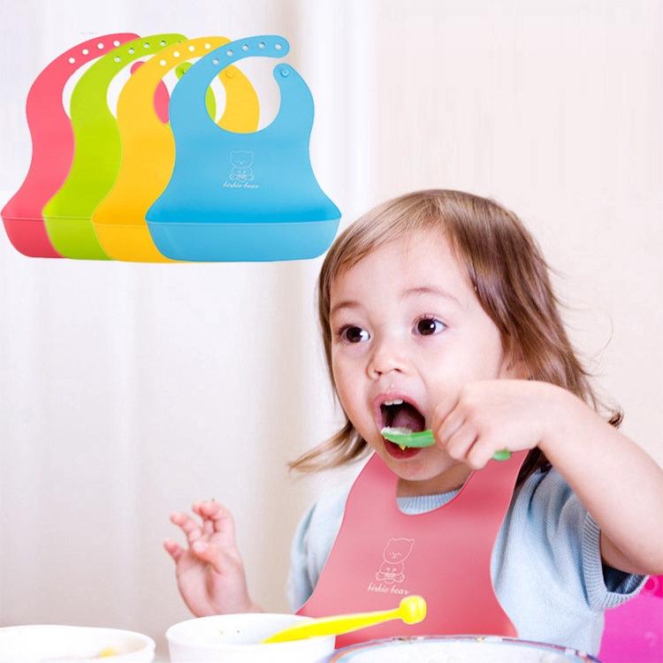 Waterproof Baby Soft Silicone Bibs Feeding bib Kids Roll up Food Catcher Pocket