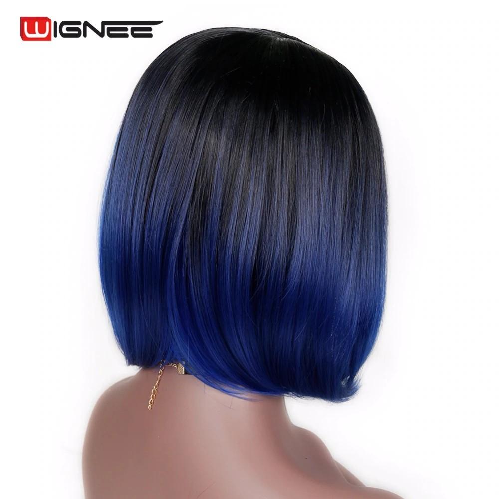 Lux Produk Import Wignee Bob Pendek Rambut Sintetis Wig Ombre Warna Biru Tanpa Glueless Tanpa Shopee Indonesia