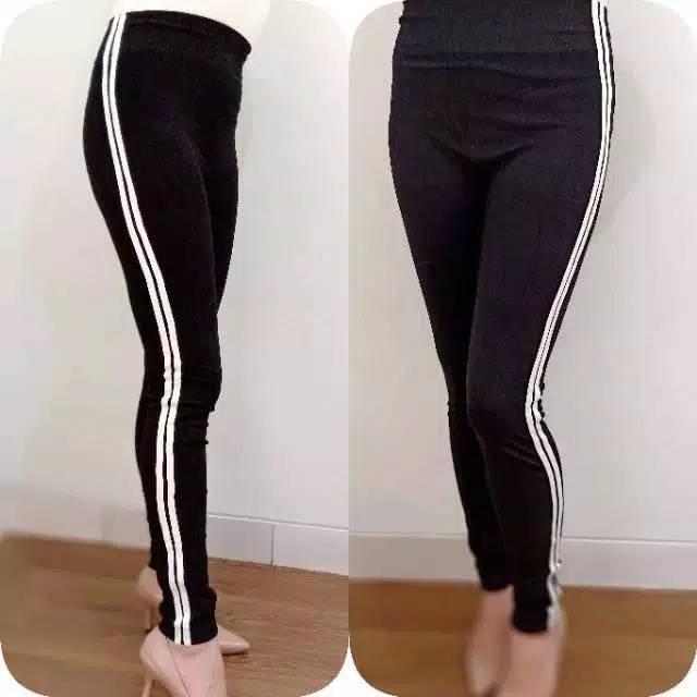 Celana Legging List Garis 2 Putih Import Murah Shopee Indonesia
