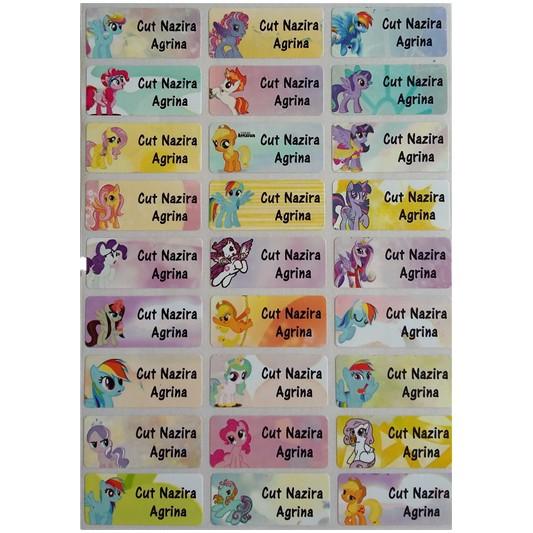 Label Stiker Nama Anak Sekolah Waterproof Anti Air Murah Size M L Little Pony Kuda Poni Shopee Indonesia