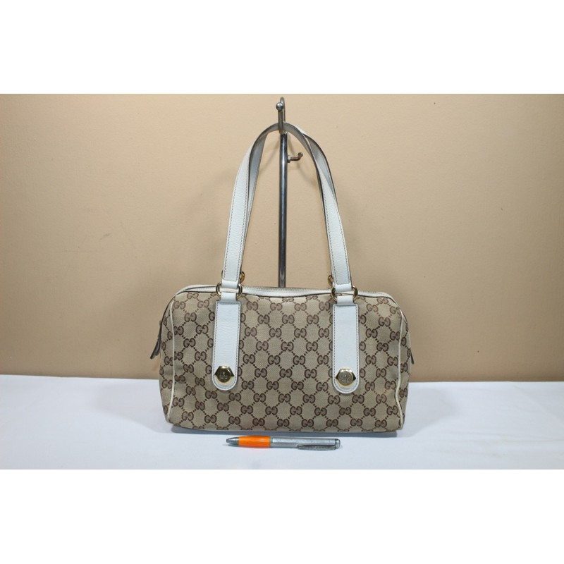 Tas branded GUCCI GC525 Hobo monogram white trim second bekas original asli   733fe4b3f0