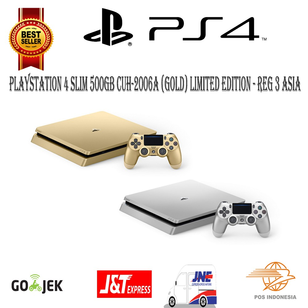 Sony Ps4 Slim Playstation 4 500gb Cuh 2006a Gold Silver Limited Shopee Indonesia