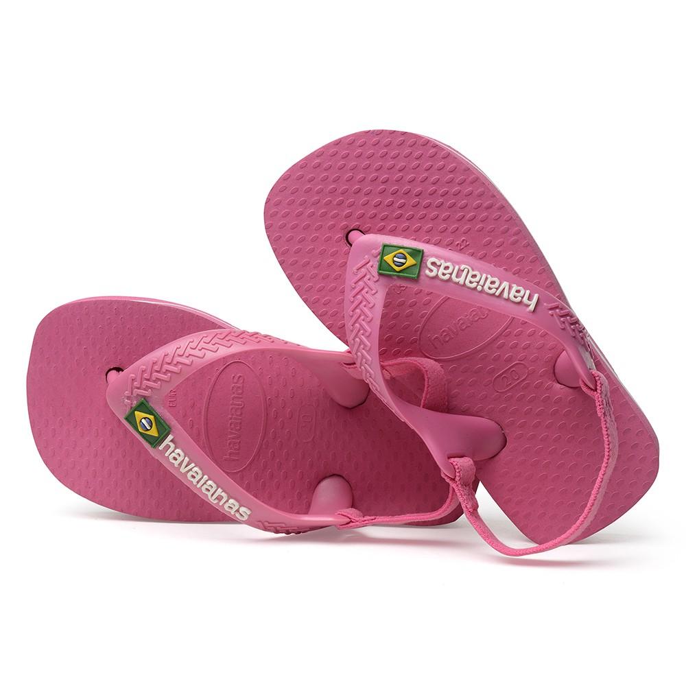 Havaianas Baby Brasil Logo II Shocking Pink Rubber Baby Flip Flops