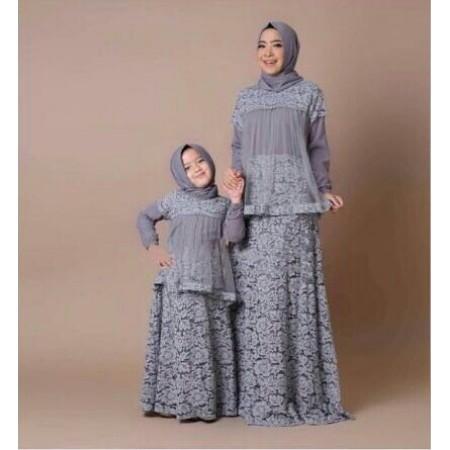 Setelan Gamis Couple Busana Muslim Bahan Gamis Brokat Couple Gamis Anak Ibu Muslim Kid Mom Wardani Shopee Indonesia