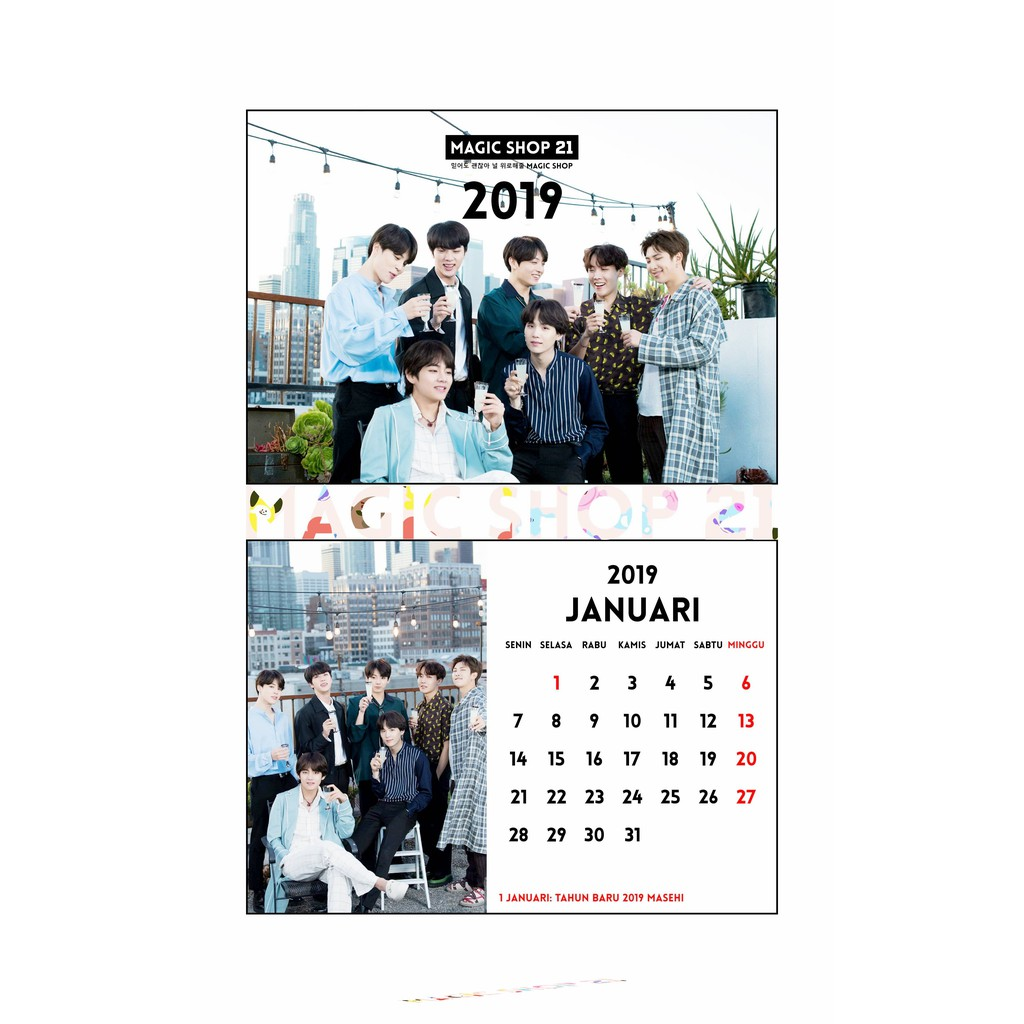 Kalender Meja 2019 Kpop BTS 2019  9fb6d8f617