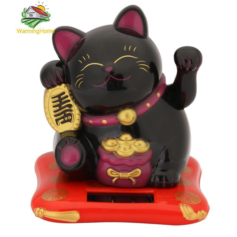 Boneka Pajangan Model Kucing Keberuntungan Tenaga Surya Ukuran 2 5 Inci