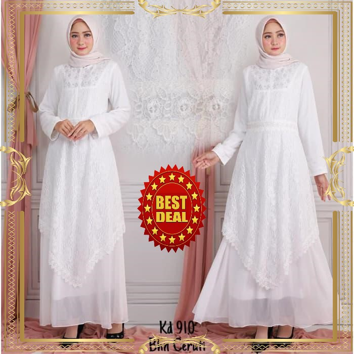 Gamisputih Fashion Muslim Wanita Warna Putih Baju Gamis Shopee Indonesia