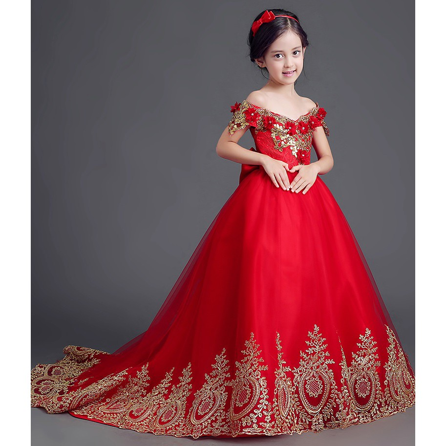 A10 Merah Gaun Pesta Anak Gaun Pengantin Anak Dress Anak