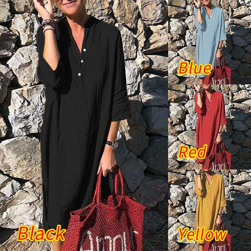 ZANZEA Women Loose Short Sleeve Casual Plus Size Midi Dress