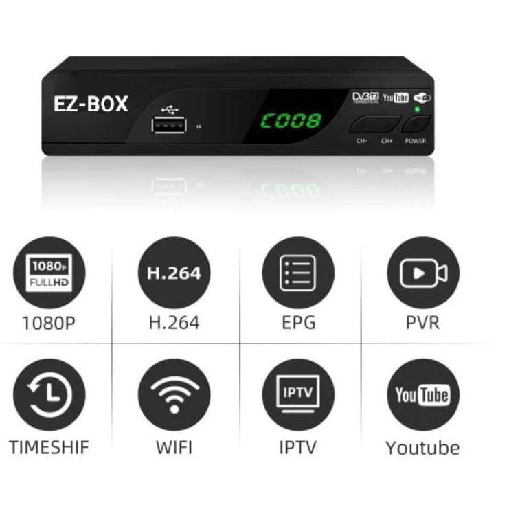✓PROMO✓ EZ-BOX SET TOP BOX DVB-T2 PENERIMA SIARAN TELEVISI DIGITAL YOUTUBE WIFI