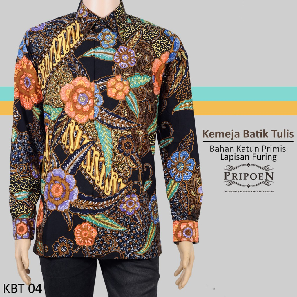 Pripoen Batik KBP338 - KEMEJA BATIK PRIA LENGAN PANJANG SOGAN ... 85074d3c87