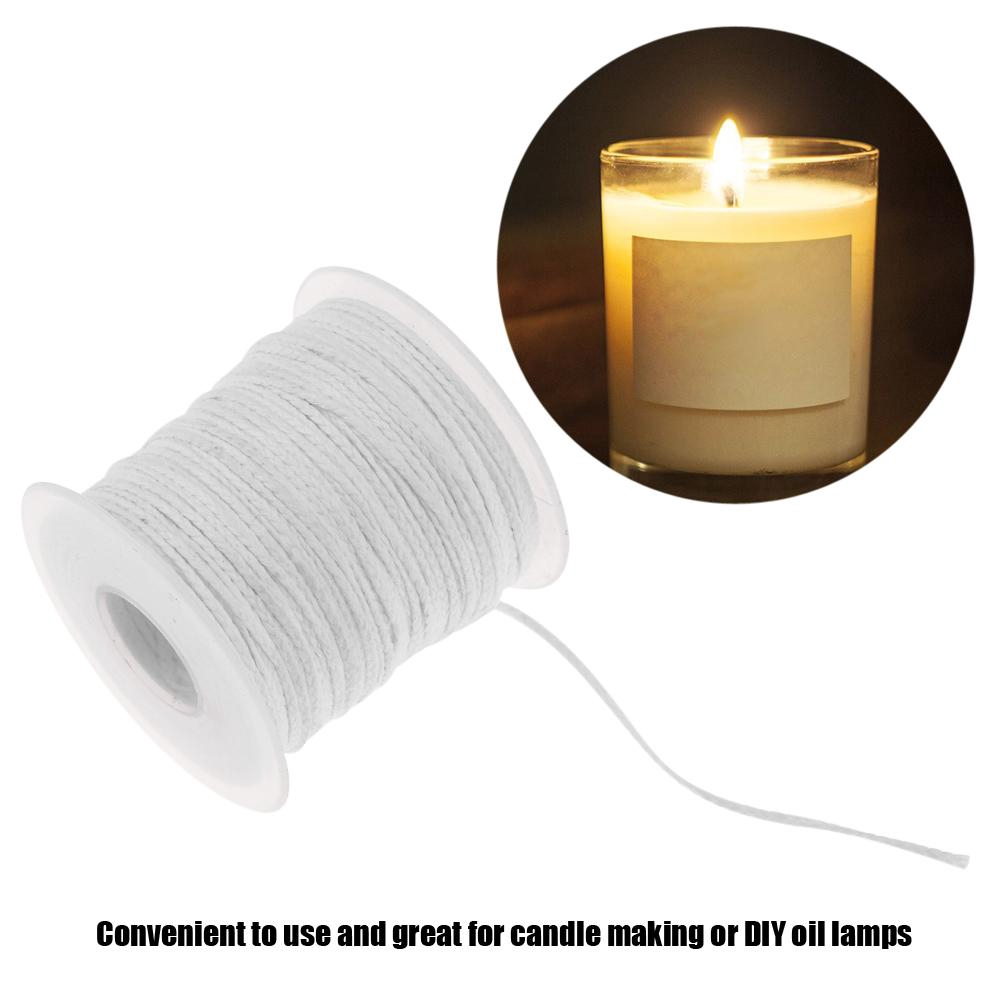 61m x 2.5mm Spool of Cotton Square Braid Candle Wicks Core For Candle Making