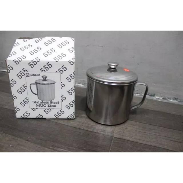 Mug gelas tutup besi stainless steel ukuran 12cm 12 merk 555 | Shopee Indonesia