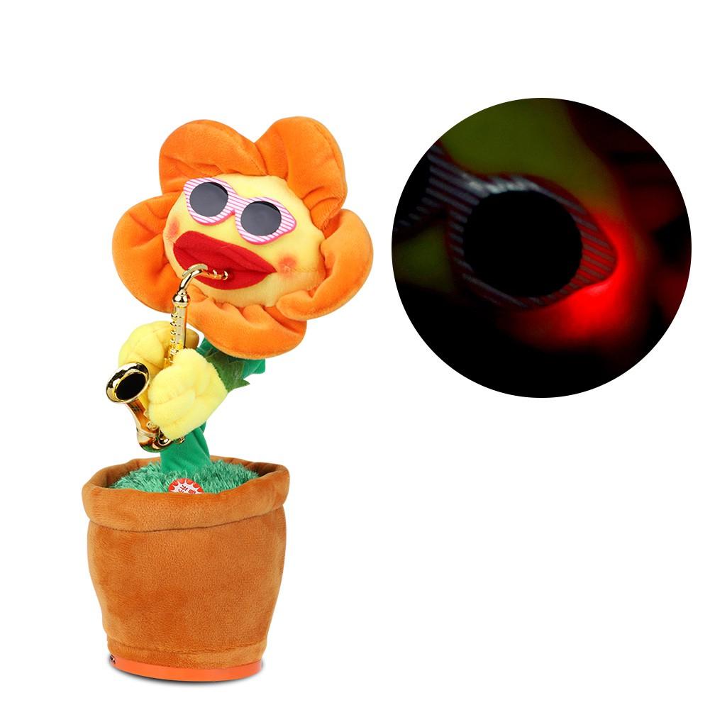 Boneka Plush Elektrik Model Bunga Matahari Dengan Saxophone