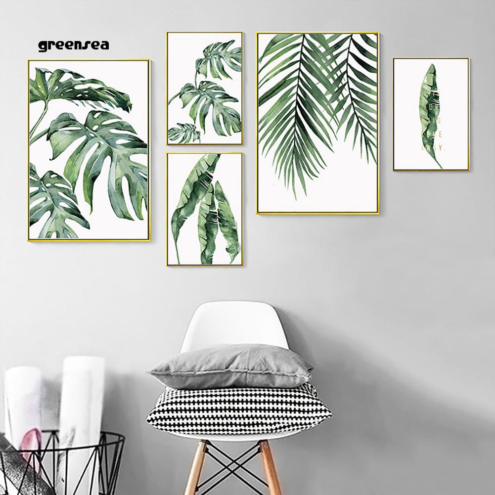 Greensea Modern Plant Leaf Canvas Painting Wall Background Living